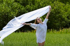 Young woman on nature. Stock Photos