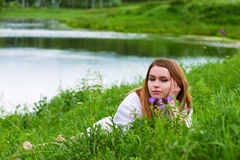 Young woman on nature. Stock Image