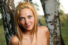 Young woman in nature. Portrait of blonde young woman in nature Stock Photos