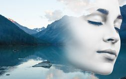 Young woman and nature landscape. Double exposure of young woman and nature mountains landscape Stock Photos