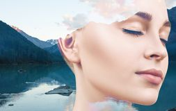 Young woman and nature landscape. Double exposure of young woman and nature mountains landscape Royalty Free Stock Photos