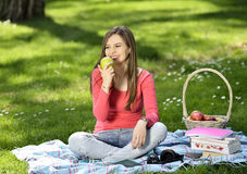 Young woman in nature is my hobby Stock Photography