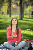 Young woman in nature is my hobby Royalty Free Stock Photos