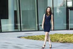 Young  woman near the business center. Royalty Free Stock Photography