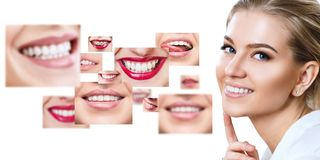 Young woman near collage with health teeth. royalty free stock image