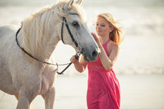 Young woman near the horse Stock Images