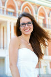 Young woman near house Royalty Free Stock Photography