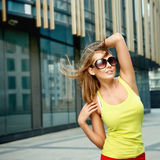Young woman near office building Stock Images
