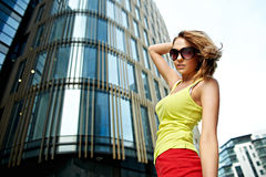 Young woman near office building Stock Image