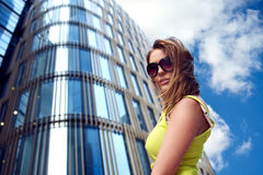 Young woman near office building Stock Photography