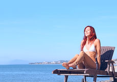 Young woman near sea Royalty Free Stock Photo
