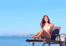 Young woman near sea Royalty Free Stock Images