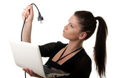 Young Woman Netbook Powercable Royalty Free Stock Image