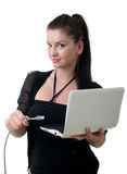 Young woman network notebook Stock Photos