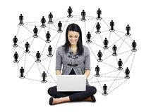Young woman with network Royalty Free Stock Photo