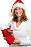 Young woman with New Year's gifts Royalty Free Stock Image