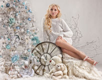 Young Woman, New Year S Tree And Old Clock Royalty Free Stock Photos