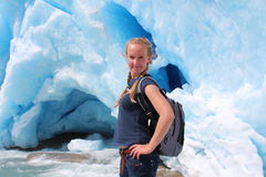 Young woman on the Nigardsbreen, glacier in Norway. Stock Photos