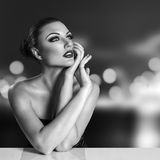Young woman in night city Royalty Free Stock Photography