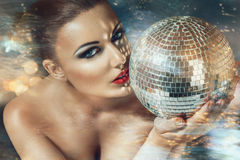 Young woman at night disco club Royalty Free Stock Photo