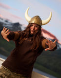 Young woman with nordic helmet Stock Images