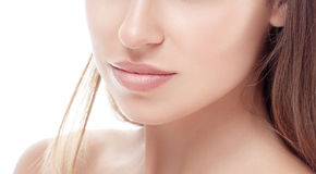 Young woman nose chin and shoulders portrait face with sexy lips Stock Image