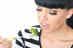 Young Woman Not Enjoying Eating Green Salad Stock Photos