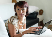 A young woman with a notebook royalty free stock images