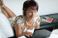 A young woman with a notebook Royalty Free Stock Photos
