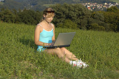 Young woman with notebook Royalty Free Stock Photos