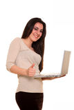 Young woman with notebook computer Stock Photo