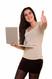 Young woman with notebook computer Stock Images
