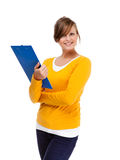 Young woman with notepad Royalty Free Stock Photography