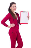 Young woman with notepad Royalty Free Stock Images