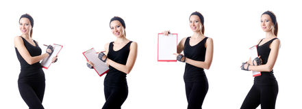 The young woman with notepad writing on white Stock Photo