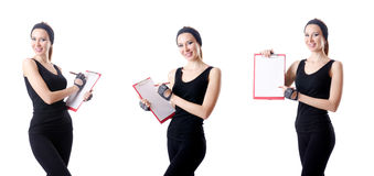 Young woman with notepad writing on white Stock Photo