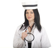 Young woman nurse in medical hat Royalty Free Stock Photos
