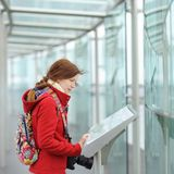 Young woman on observation deck in Montparnasse building in Paris Royalty Free Stock Images