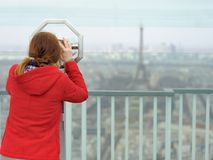 Young woman on observation deck in Paris, France Royalty Free Stock Image