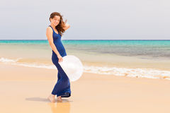 Young woman on the ocean beach Royalty Free Stock Photo