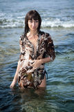 Young woman in the ocean water Royalty Free Stock Photos