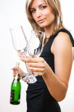 Young woman offering drink Royalty Free Stock Photos