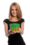 Young Woman Offering Gift Stock Images