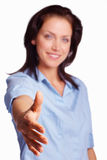Young woman offering you a handshake over white Royalty Free Stock Photography
