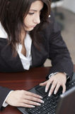Young woman at the office. Young woman using the laptop in the office Stock Photography
