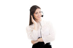 Young woman in office attire with headset on white background Royalty Free Stock Photography