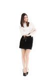 Young woman in office attire on white background Royalty Free Stock Photos