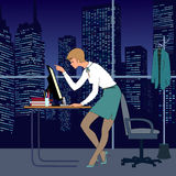 Young woman in office. Nice young woman work in office at night. There are table, computer, armchair and great window. Very nice  view from window to skyscrapers Stock Image