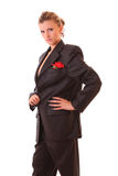 Young woman in office suit isolated. On white Royalty Free Stock Photography