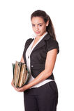 Young woman office worker with files Royalty Free Stock Image